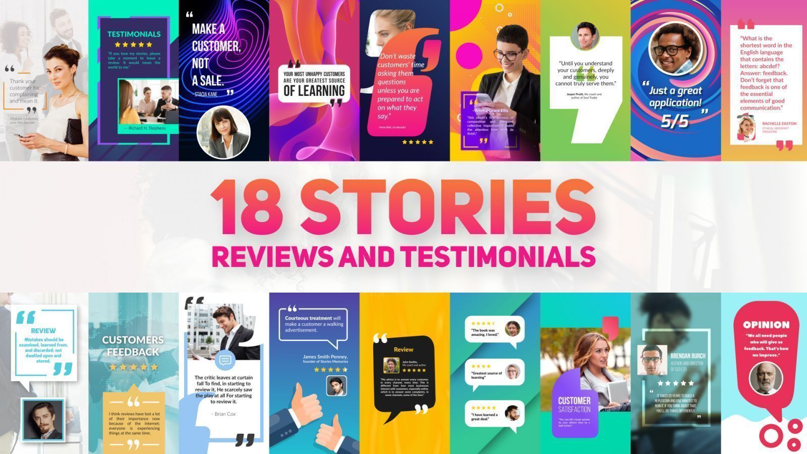 Reviews and Testimonials Stories Pack