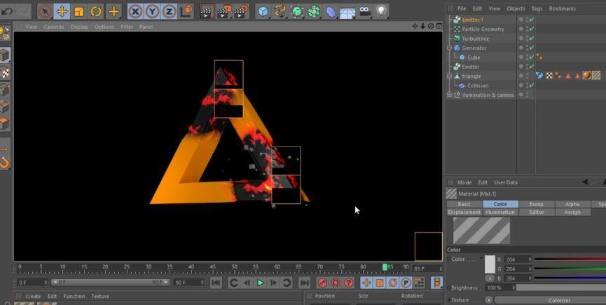 C4D появление текстур с помощью Object Colisions