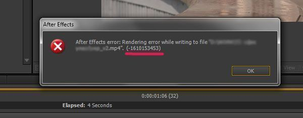 After Effects error:(-1610153453)
