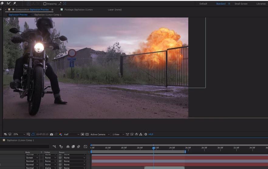Простой композ взрыва в After Effects