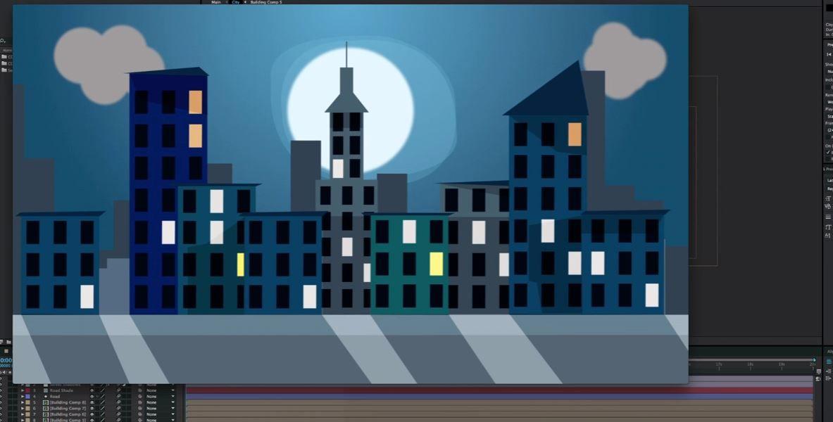 Создание и анимация флетового города в АЕ