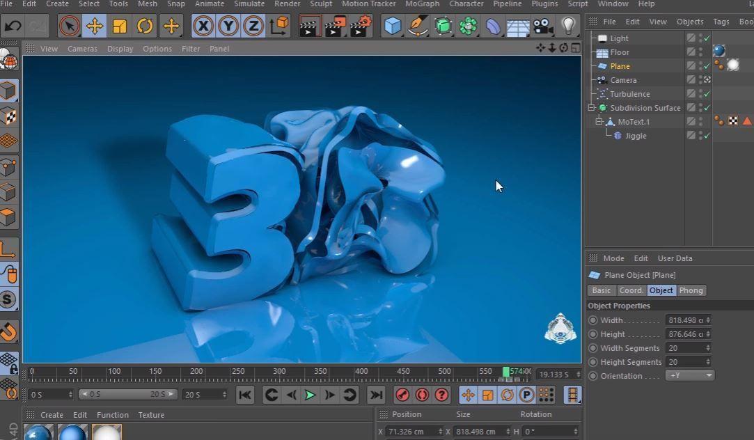Использование Jiggle деформера в Cinema 4D