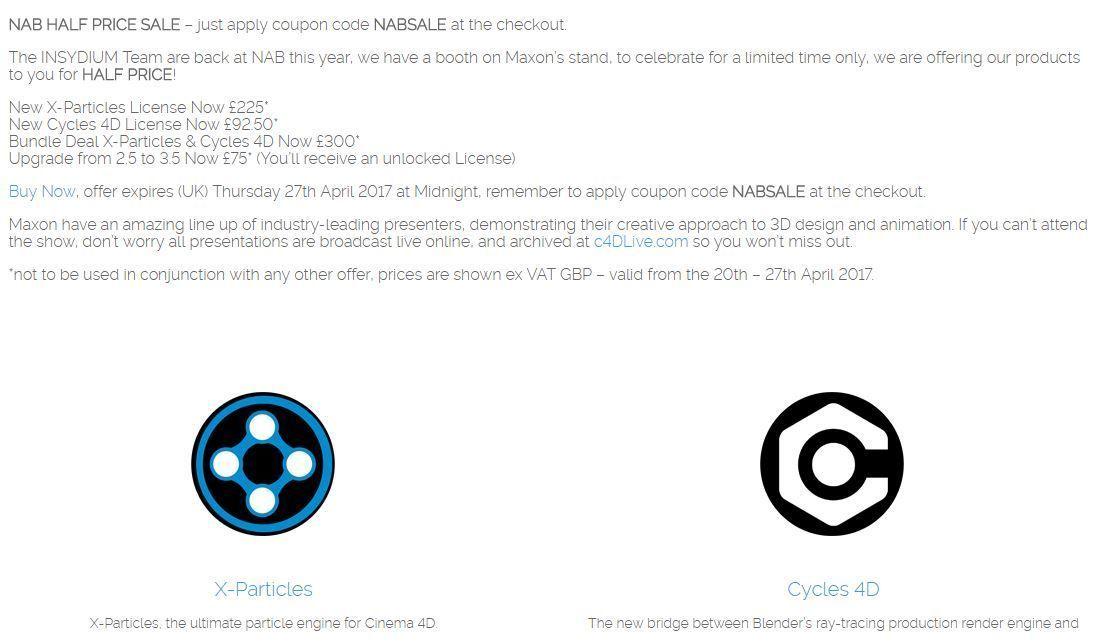 Скидка 50% на X-particles и Cicles 4D