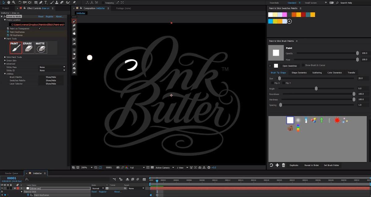 Paint & Stick - анимация рисования логотипа