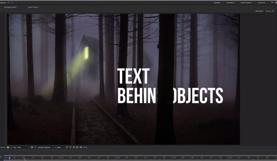 Текст за объектами в After Effects