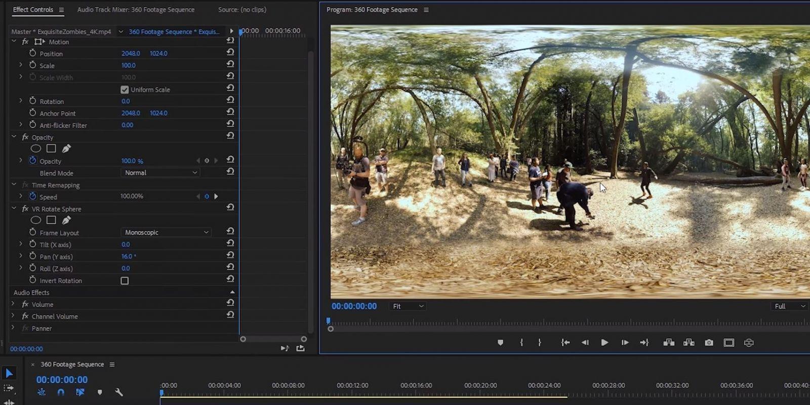 Монтаж и редактирование VR видео в Premiere